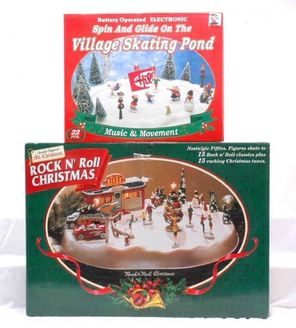 Christmas Ice Skating Rink Decoration: 443: Mr. Christmas Ice Skating Rink Village Pond MINT