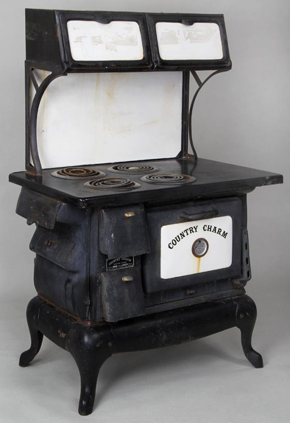 country charm iron stove electrified 44 h 36 w lot 312