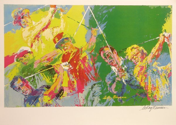5854 leroy neiman hand signed lithograph golf masters lot 5854. Black Bedroom Furniture Sets. Home Design Ideas