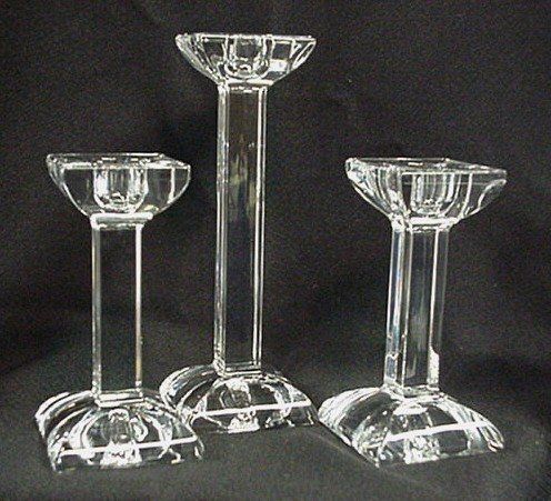 1073 villeroy and boch crystal candlesticks trio lot 1073