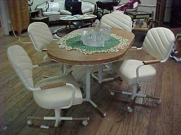 Dining Table Set with Rolling Chairs