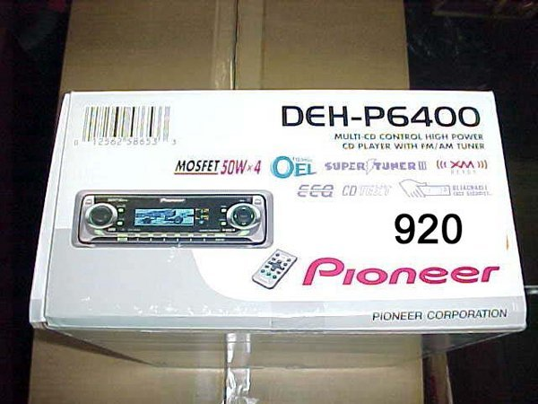 920 pioneer deh p6400 car cd player with re lot 920. Black Bedroom Furniture Sets. Home Design Ideas
