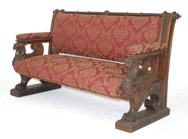93 Rj Horner Oak Winged Griffin Carved Sofa Lot 93