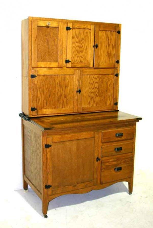 230: Antique American Golden Oak Hoosier Cabinet. c 190 ...