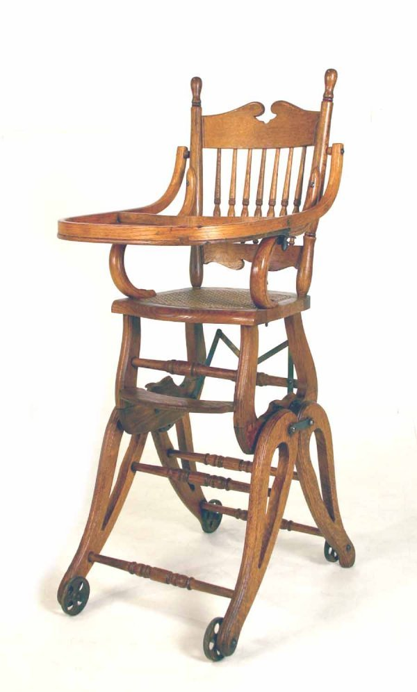 132 Rare Antique Oak Adjustable High Chair Converts to