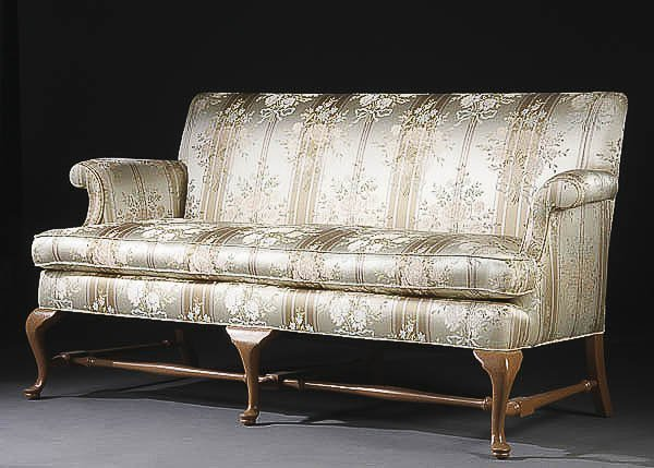 1186 An Early American Queen Anne Style Sofa With Silk