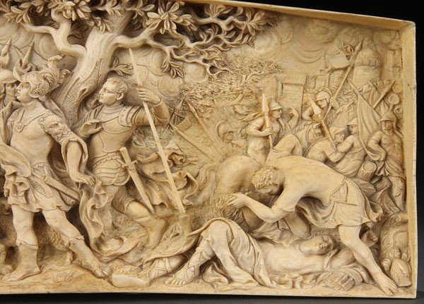 A very fine south german carved ivory relief lot