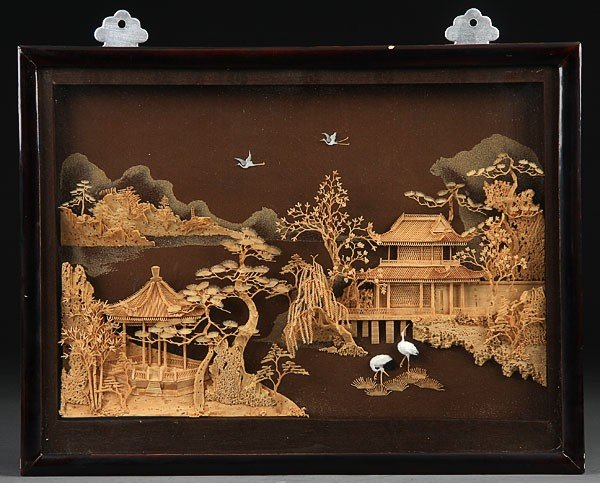 A japanese carved cork and wood diorama mid th