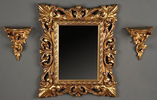 Italian baroque revival mirror wall sconces lot 646 for Italian baroque mirror