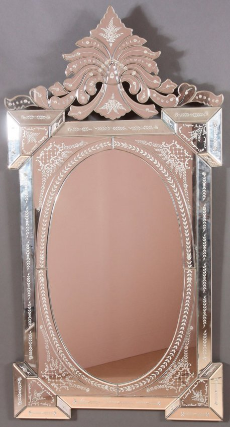 LARGE VENETIAN ETCHED AND BEVELED GLASS WALL MIRROR : Lot 811