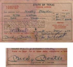 263 Mickey Mantle 39 S Signed 1972 Fishing License From H