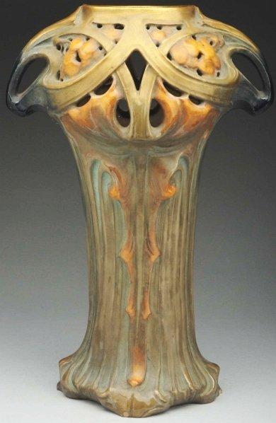88 Highly Stylized Austrian Art Nouveau Ceramic Vase Lot 88