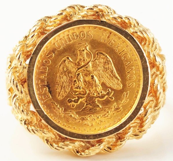 549 14k yellow gold dos peso coin ring lot 549