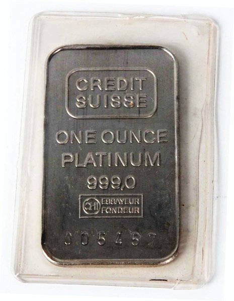 819: One-Ounce Platinum Ingot Credit Suisse. : Lot 819