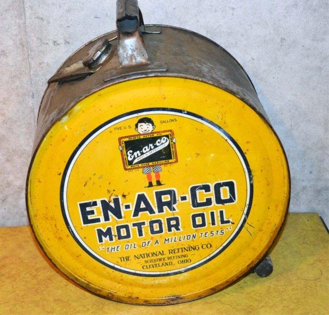 En Ar Co Motor Oil Five Gallon Rocker Can Lot 431