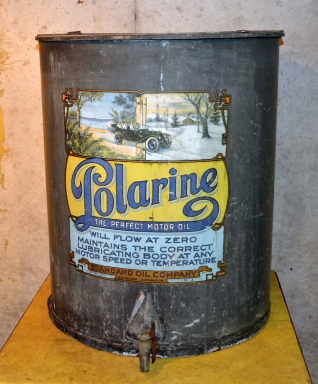 Polarine motor oil metal barrel lot 432 for Motor oil by the barrel