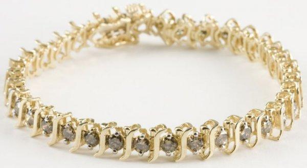 370 14kt chocolate diamond tennis bracelet lot 370. Black Bedroom Furniture Sets. Home Design Ideas