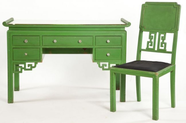 137 painted chinese style writing desk and side chair for Asian style desk
