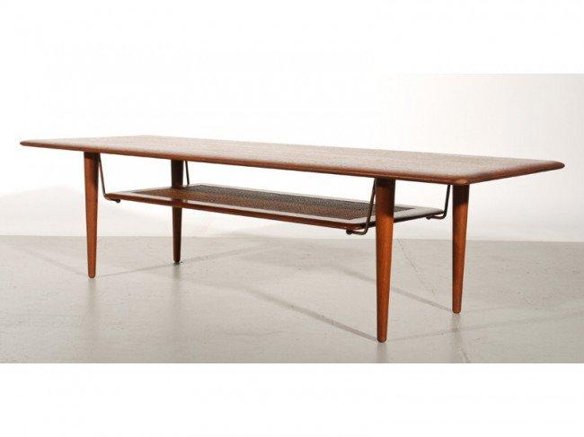 276 Peter Hvidt Danish Modern Teak Cane Coffee Table Lot 276