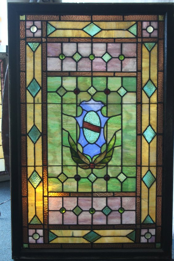 Large Victorian Leaded Stained Glass Window Lot 48