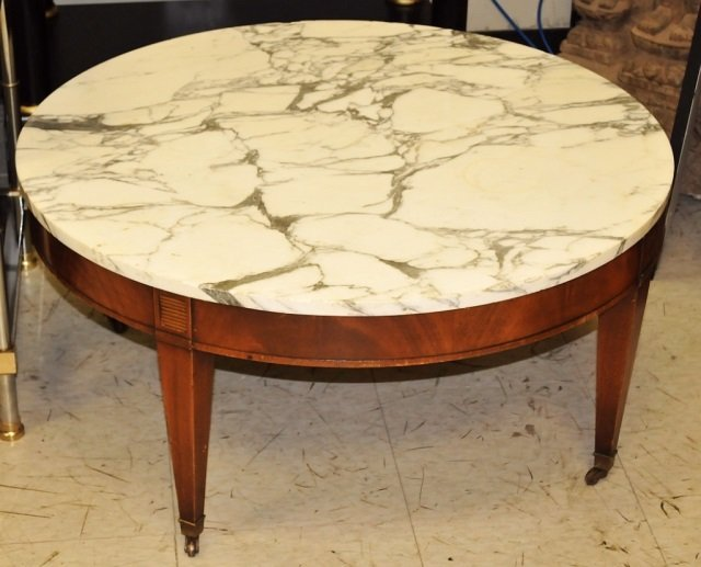 Jansen Round White Marble Top Coffee Table Lot 306