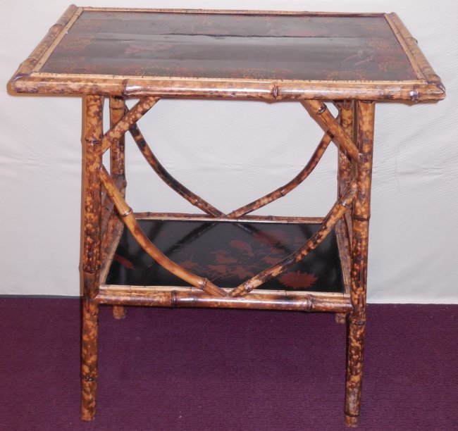 Bamboo Tortoise Coffee Table: Tortoise Painted Bamboo Occasional Table : Lot 199
