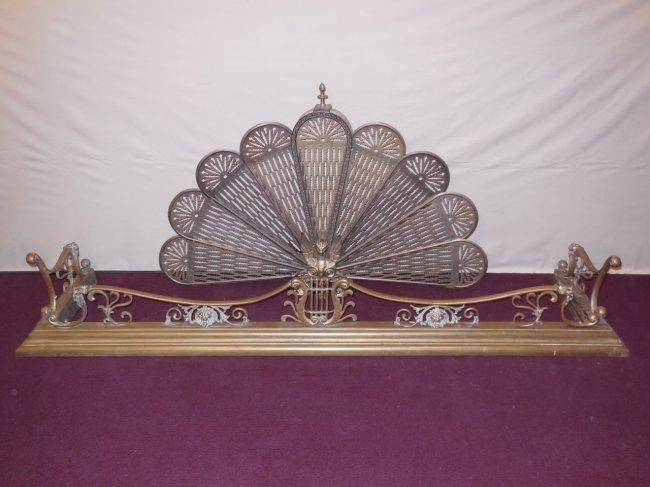 Brass Fireplace Fender Fan Screen Lot 218