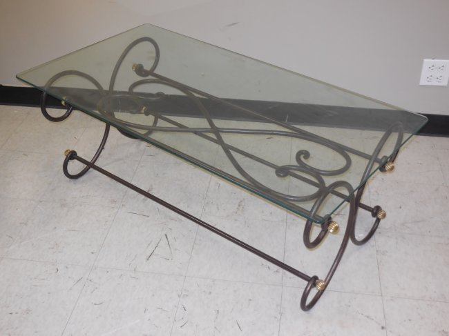 Wrought Iron Scroll Coffee Cocktail Table Lot 333