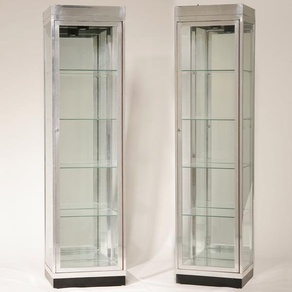 1218 a pair of modern chrome glass vitrine cabinets. Black Bedroom Furniture Sets. Home Design Ideas