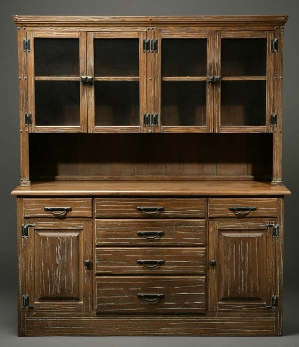 1163 An A Brandt Ranch Oak Buffet Vitrine Cabinet