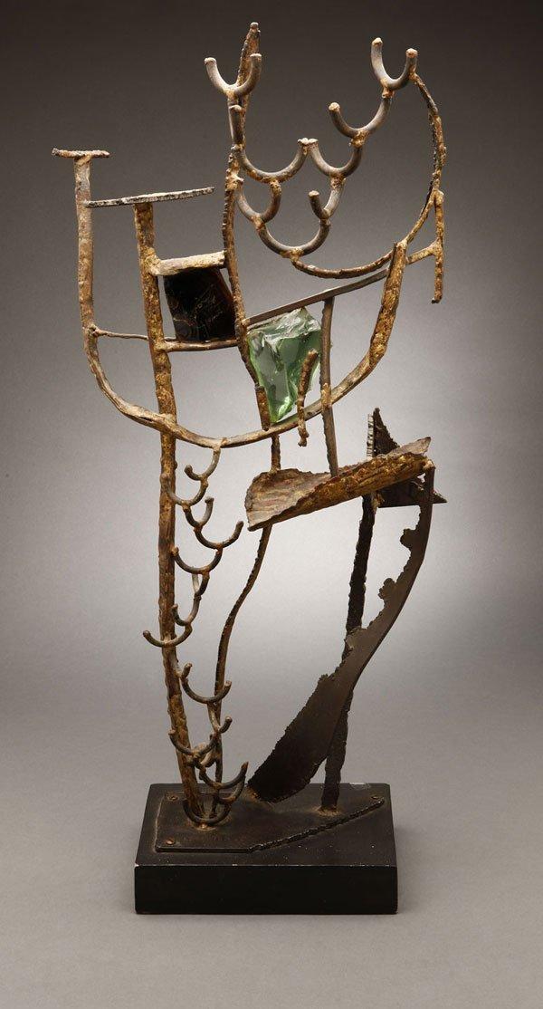 A leon saulter metal glass abstract sculpture