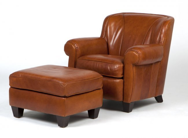 A Bernhardt Leather Club Chair And Ottoman Lot 240