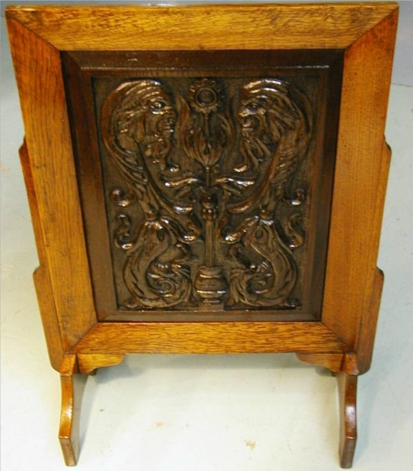 5036 wooden carved fireplace screen with griffen heade