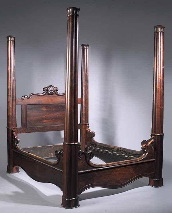 American rococo carved rosewood four post bed lot