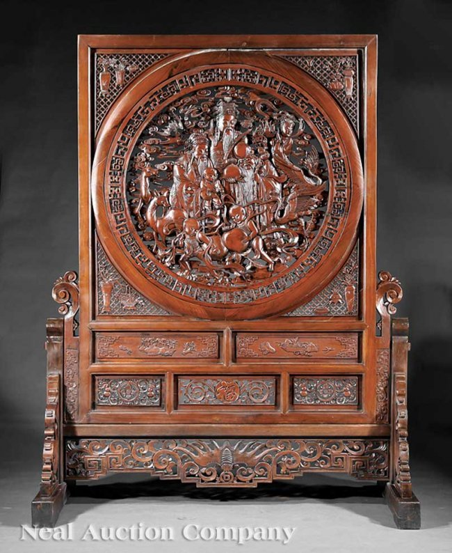 Monumental chinese carved wood screen lot