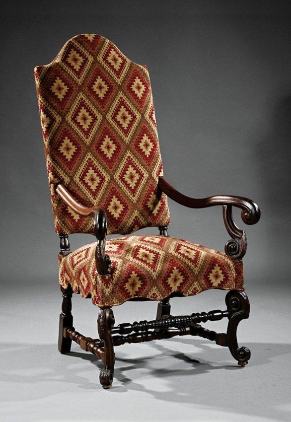 a louis xiv style walnut fauteuil a la reine lot 871. Black Bedroom Furniture Sets. Home Design Ideas