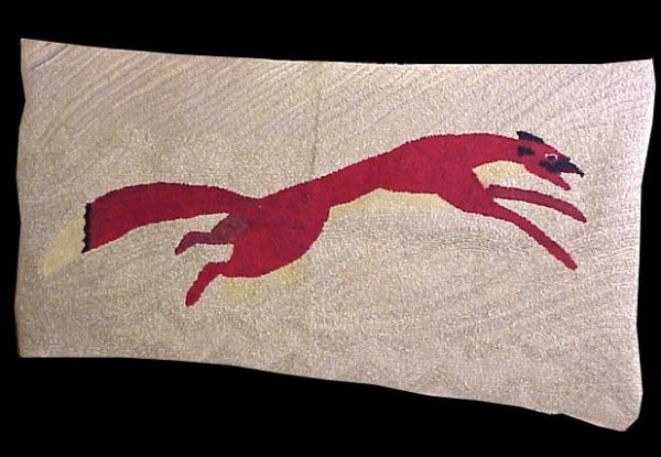folk art red fox hooked rug