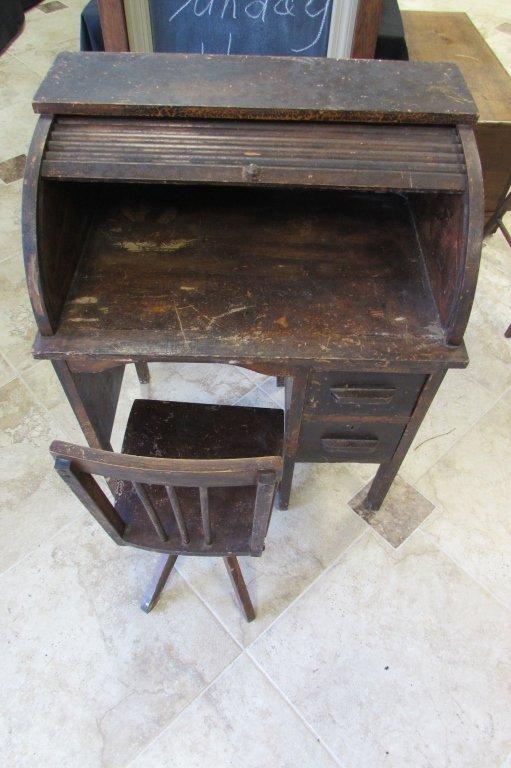 Oak Roll Top Desk Amp Chair Child S Wood Antique Lot 53a