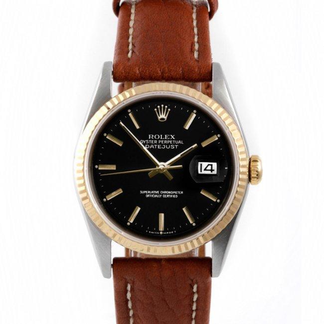 Rolex Mens 2tone Datejust - Leather Strap 16013 : Lot 2