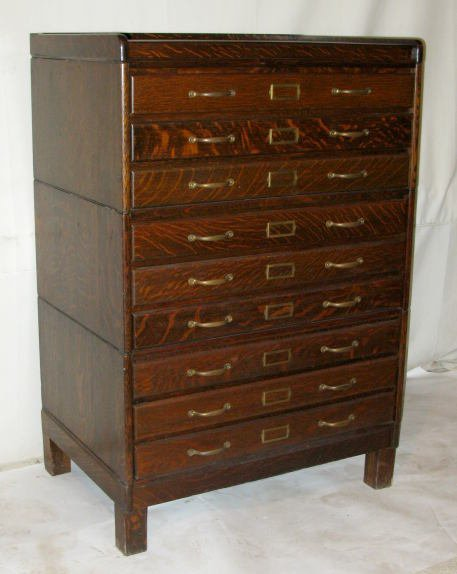 580a oak 3 stack document cabinet or map lot 580a