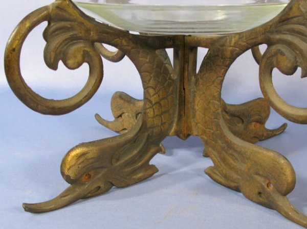 157c cast iron fish bowl stand w fish design lot 157c for Does fish have iron
