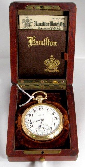 125  hamilton 950 23j 16s lever set pocket watch   lot 125
