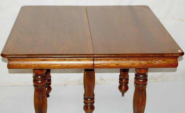 173F Antique 5 Leg Square Oak Dining Room Table Lot 173F