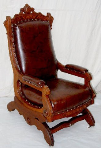 Victorian walnut platform rocking chair leather lot 40f