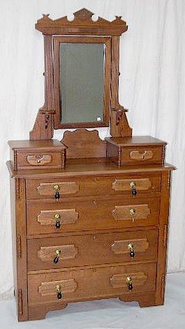 Antique Walnut 6 Drawer Dresser W Mirror Lot 64f