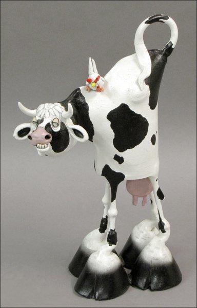 712187 G Todd Vaughn Painted Ceramic Cow Sculpture Lot