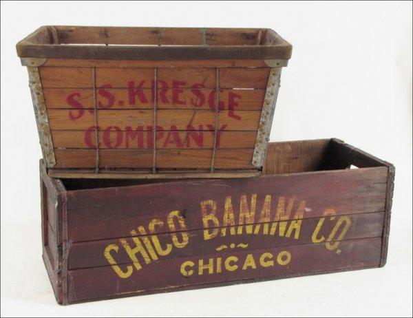 752299 Ss Kresge Wood Box And A Chico Banana Crate Lot