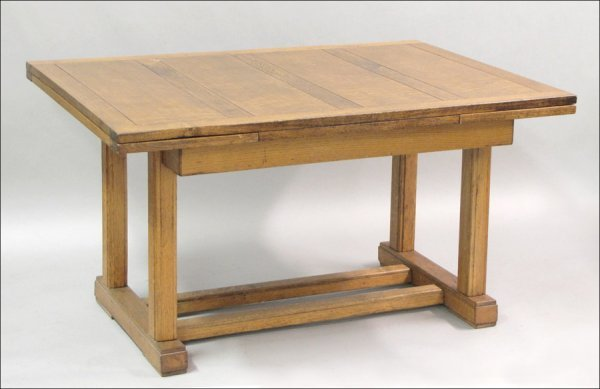 801050 mission style oak extension dining table lot 801050 for Mission style dining table