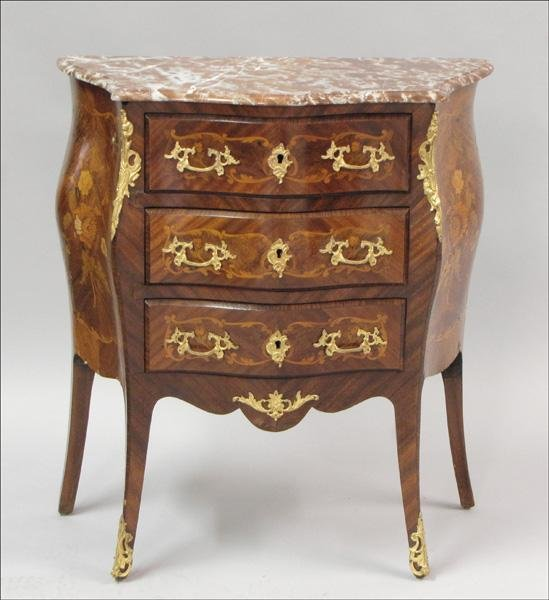 891027: FRENCH STYLE INLAID MAHOGANY MARBLE TOP BOMBE C