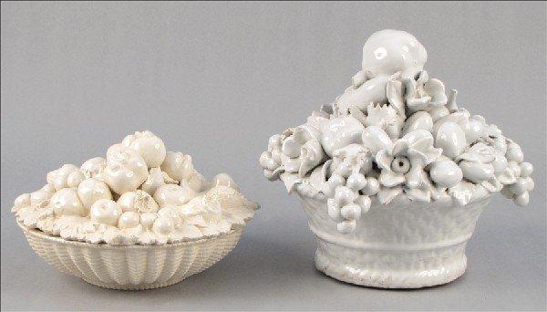 Italian glazed ceramic fruit bowl centerpiece